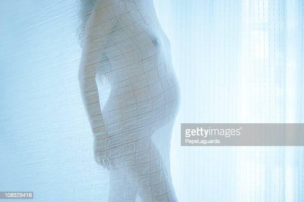 Silhouette: pregnant woman profile in front a big window