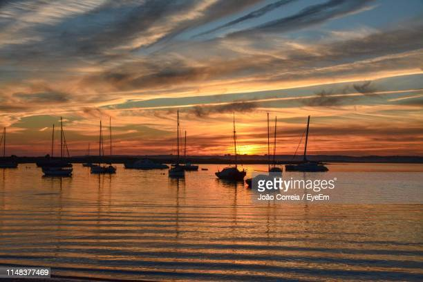 silhouette sailboats in sea against sky during sunset - alvor stock pictures, royalty-free photos & images