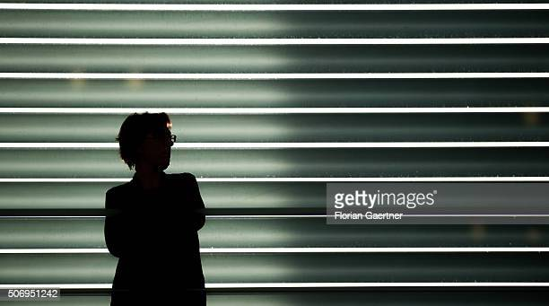 A silhouette seen in front of a large louver on January 26 2016 in Berlin Germany