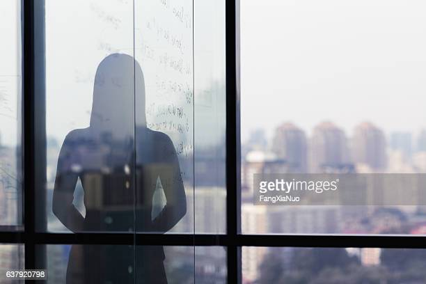 silhouette shadow of woman looking at city from office - onherkenbaar persoon stockfoto's en -beelden