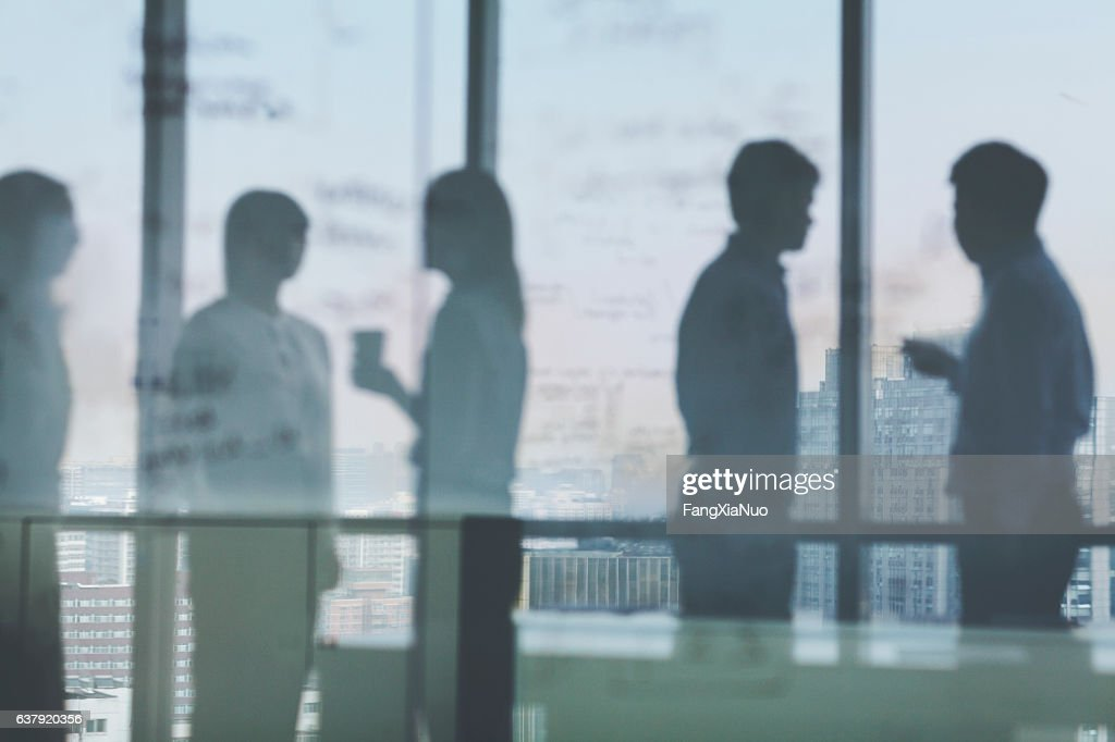 Silhouette shadows of business team meeting in office : Stock-Foto