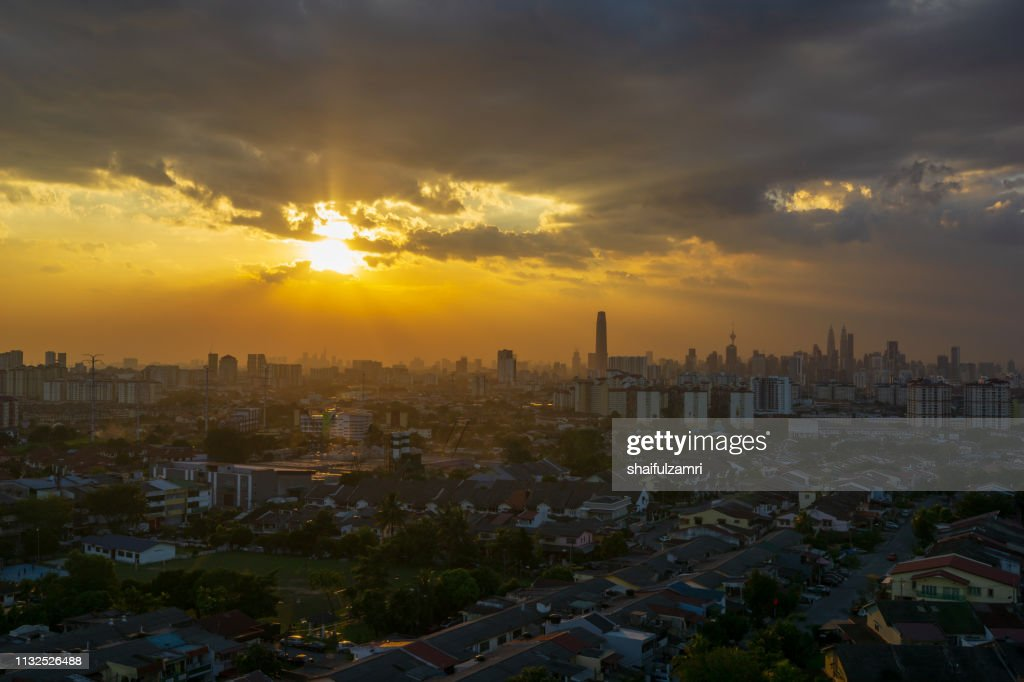 Silhouette shot of downtown Kuala Lumpur skyline at twilight in Malaysia : Stock Photo