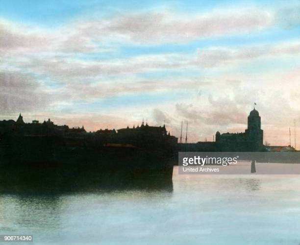 Silhouette skyline of the city of Viborg next to Russia Finnland 1920s