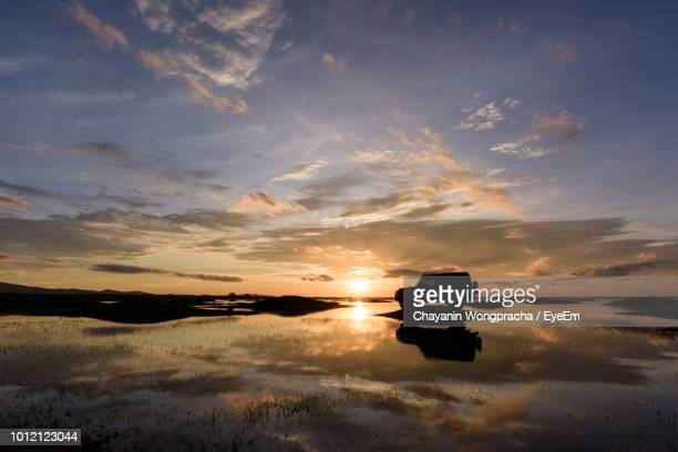 silhouette sport utility vehicle reflecting on lake during sunset - 4x4 stock pictures, royalty-free photos & images