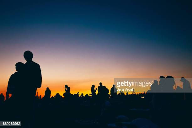 Silhouette Sunset People At Outdoor Festival