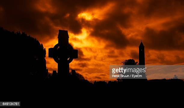 Silhouette Tombstone At Glasnevin Cemetery During Sunset