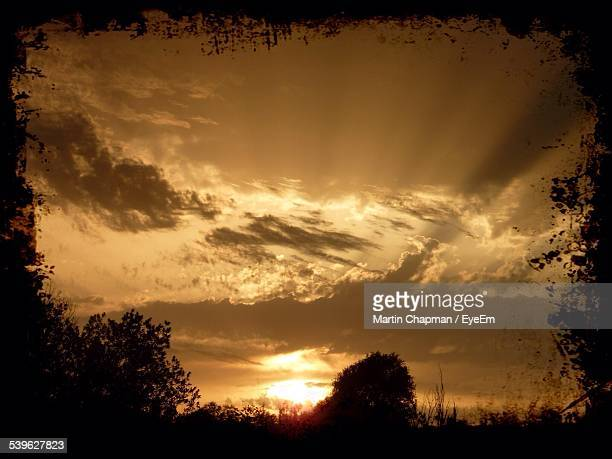 silhouette trees against cloudy sky during sunset - gillingham stock pictures, royalty-free photos & images