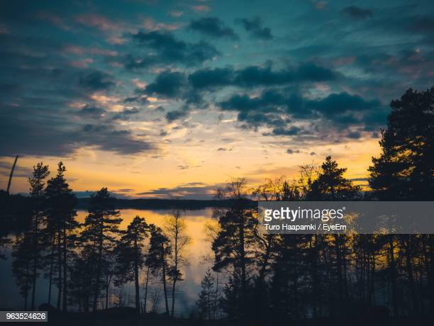 silhouette trees by lake against sky during sunset - ラッペーンランタ ストックフォトと画像
