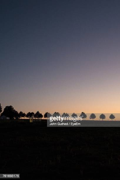 Silhouette Trees On Field Against Clear Sky