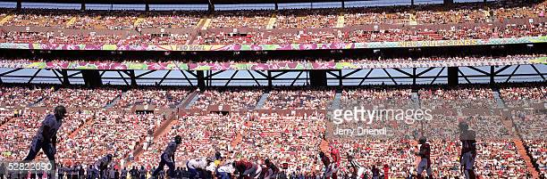 Silhouette view of the line of scrimmage from ground level during the NFL Pro Bowl on February 13 2005 at Aloha Stadium in Honolulu Hawaii The AFC...