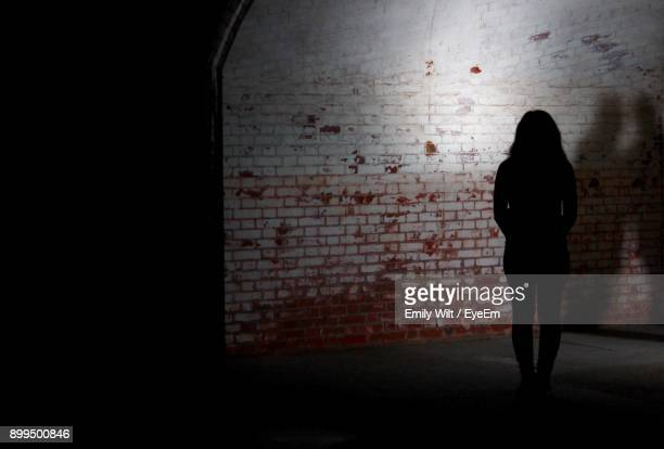 Silhouette Woman Standing Against Wall At Night