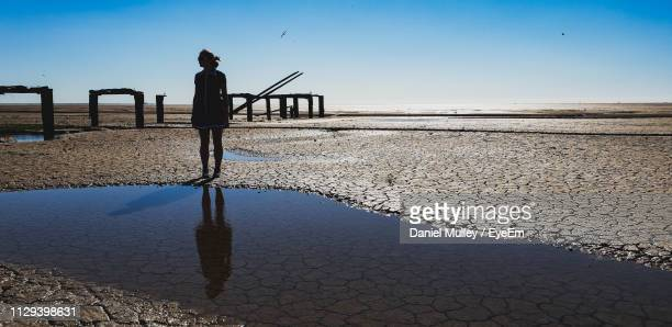 silhouette woman standing at beach against sky - king's lynn stock pictures, royalty-free photos & images