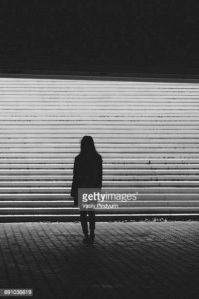 Silhouette woman standing by steps on sunny day