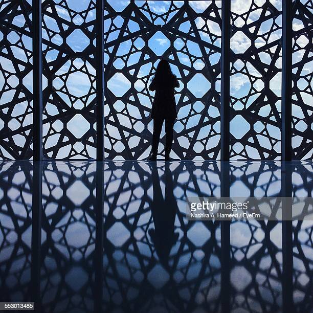silhouette woman standing in front of closed gate - doha stockfoto's en -beelden