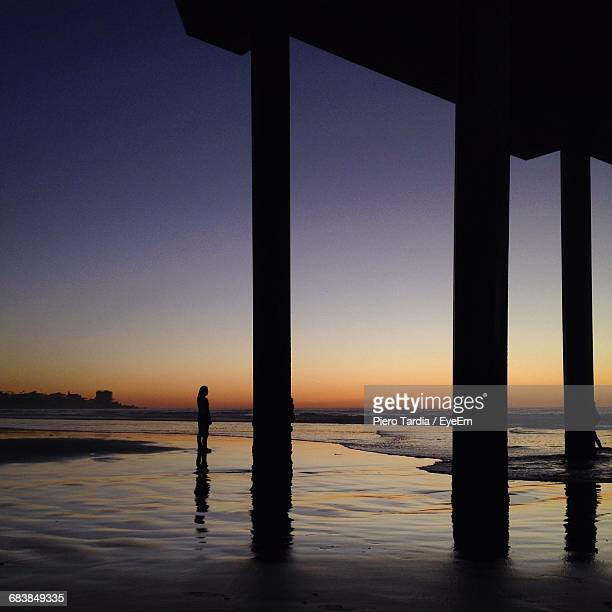 Silhouette Woman Standing On Sea Shore Against Sky During Sunset