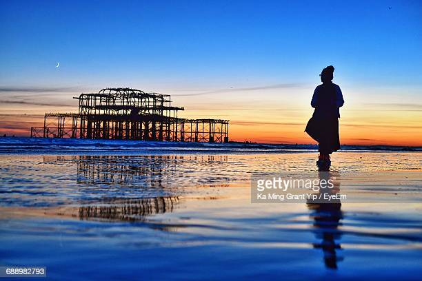silhouette woman standing on shore while looking at ruined west pier during sunset - brighton beach england stock pictures, royalty-free photos & images