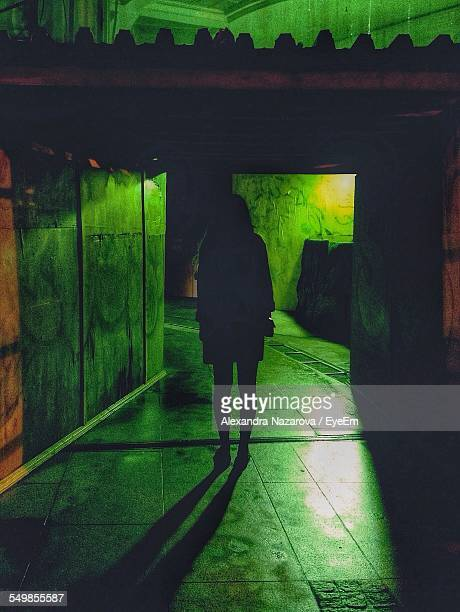 Silhouette Woman Walking In Tunnel