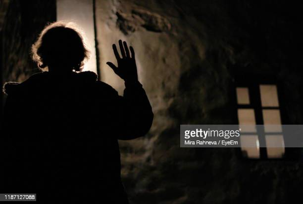 silhouette woman waving outdoors at night - waving gesture stock pictures, royalty-free photos & images