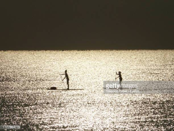 silhouette women paddleboarding in sea during sunset - solomon turkel stock pictures, royalty-free photos & images