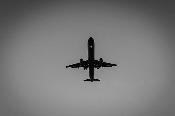 Silhouetted aircraft landing