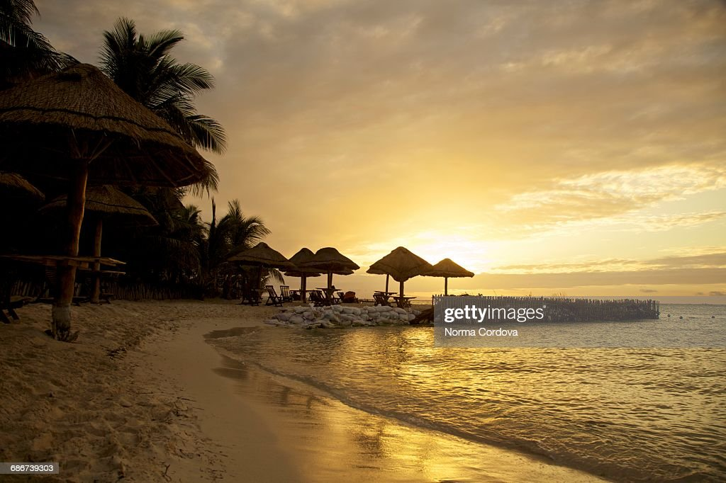 """""""Silhouetted golden sunset on beach, Isla Mujeres, Mexico"""" : Stock Photo"""