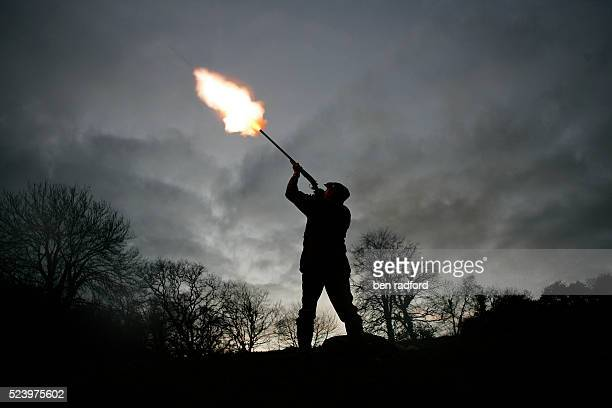 A silhouetted hunter fires his shotgun at a pheasant in the fading light of a winter pheasant and duck shoot in Yarnsworth near Barnstaple in Devon...