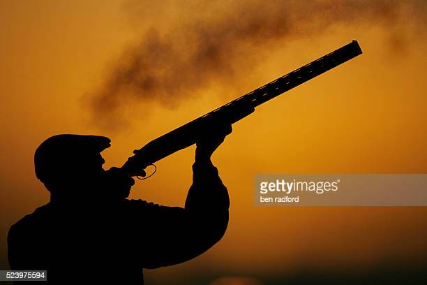 A silhouetted hunter takes aim and fires his shotgun against a setting sun during a pheasant shoot in North Newington near Banbury in Oxfordshire UK...