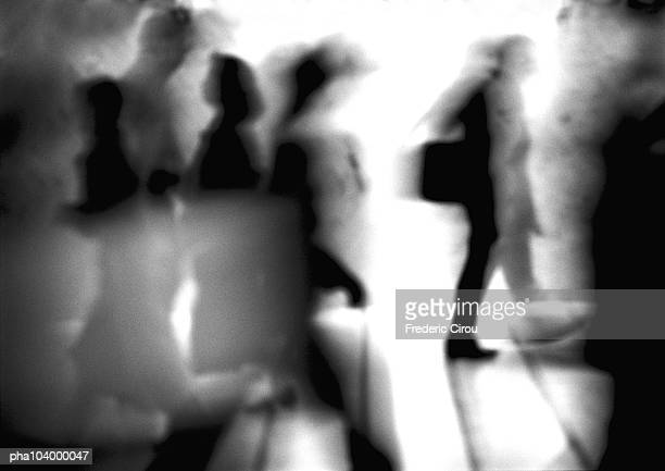 silhouettes, blurred, b&w - moving past stock pictures, royalty-free photos & images