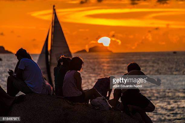 Silhouettes in the sunset of Rio de Janeiro