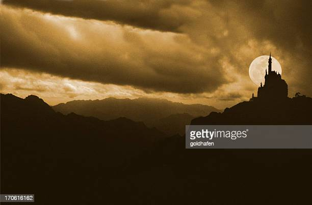 silhouettes of a castle with full moon background behind it - castle stock photos and pictures
