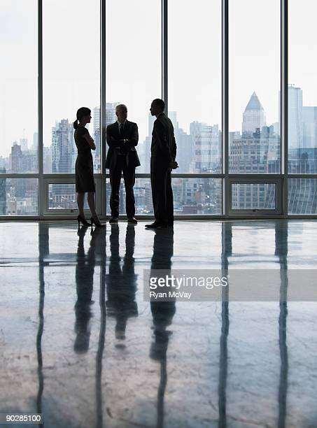 Silhouettes of business team near windwos