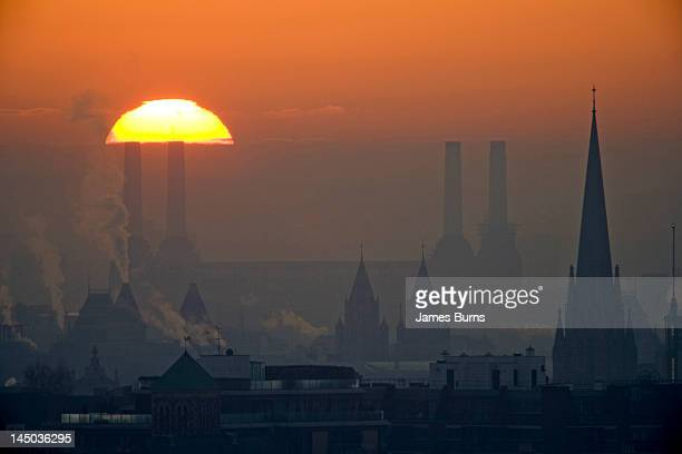 Silhouettes of chimneys and spires