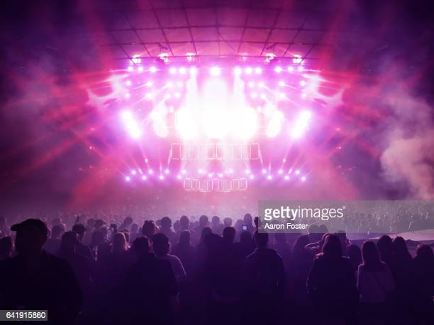 silhouettes of concert crowd - konzert stock-fotos und bilder