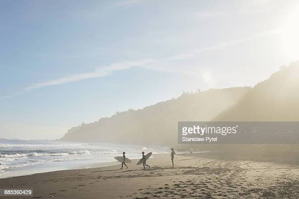 Silhouettes of kids preparing to surf