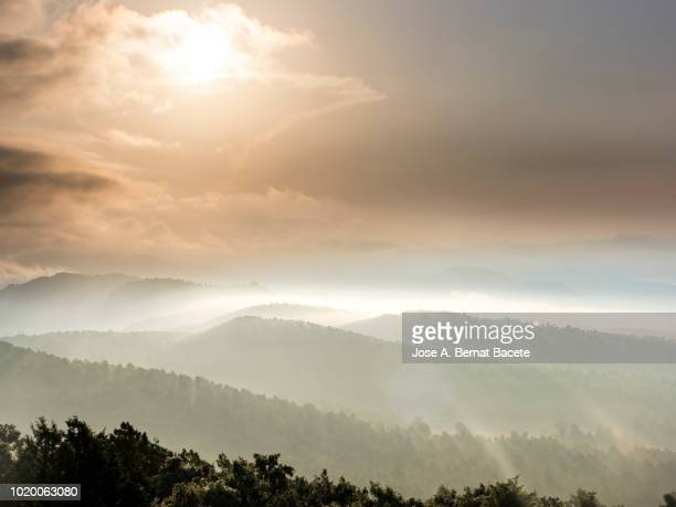 Silhouettes of mountains between covered valleys of fogs and hazes to the dawn of a day of golden light and clouds Cumulonimbus. Spain.