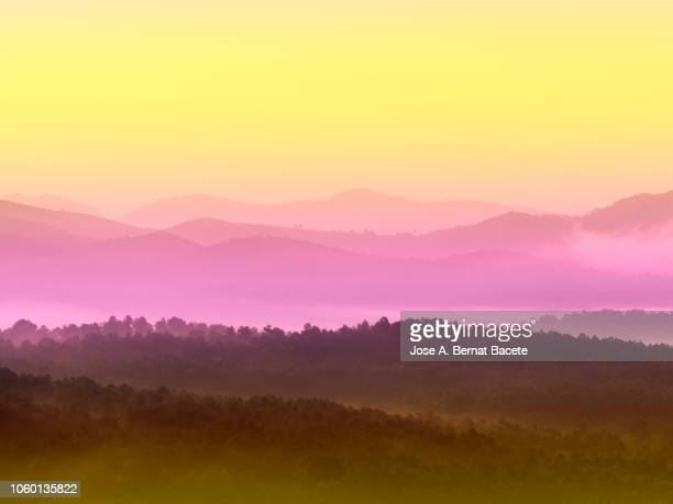 Silhouettes of mountains between covered valleys of fogs and hazes to the dawn of a day of golden light. Spain.