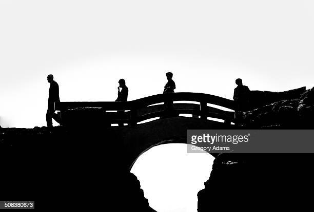 Silhouettes of people crossing a bridge at Yehliu