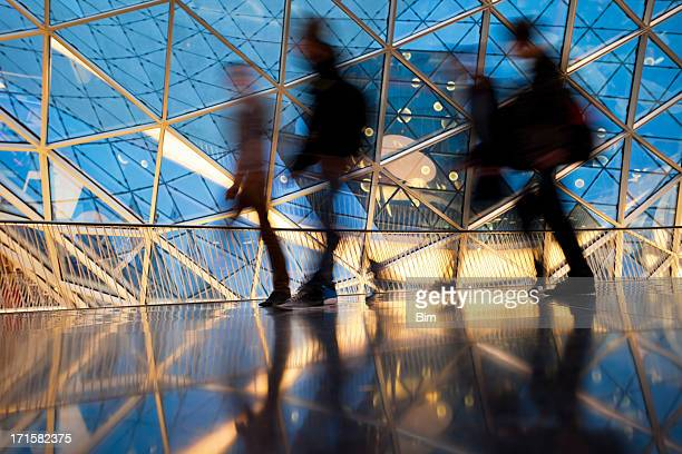 Silhouettes of People in Futuristic Interior, Blurred Motion