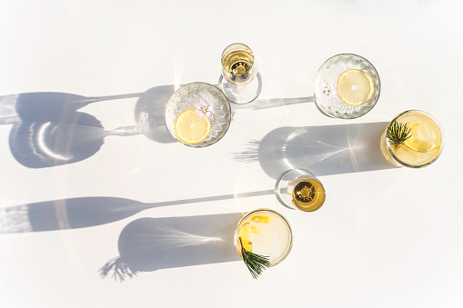 Silhouettes of Summer Drinks in Crystal and Glass, Horizontal - gettyimageskorea
