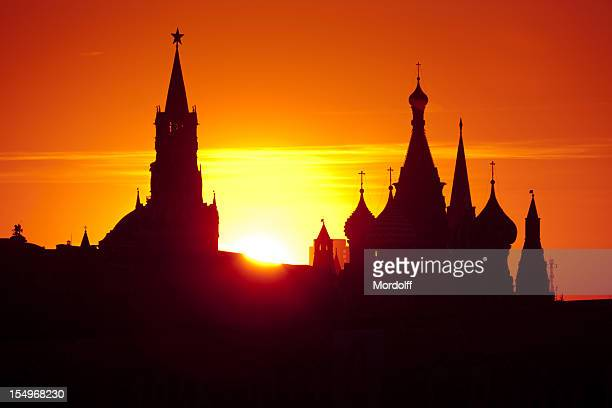 Silhouettes of the Moscow Kremlin at sunset