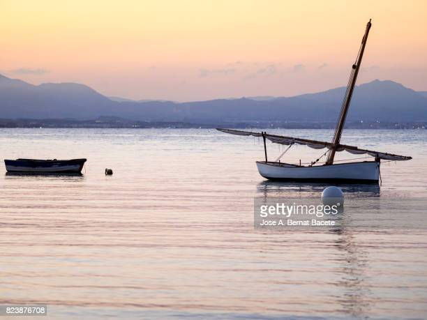 Silhouettes of two wooden fishing boats near the beach during an orange sunset on the island of Tabarca, Spain