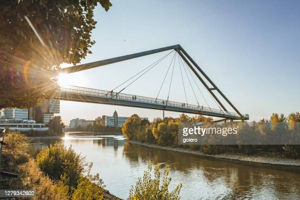 silhouettes on bridge over rhine river in düsseldorf in early fall season - north rhine westphalia stock pictures, royalty-free photos & images