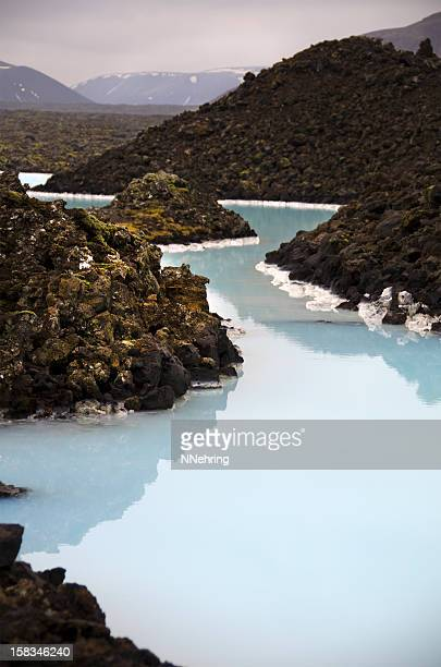 Silica Lined Blue Lagoon, Mossy Black Lava Rocks