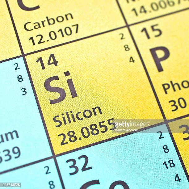silicon on periodic table - periodic table stock photos and pictures