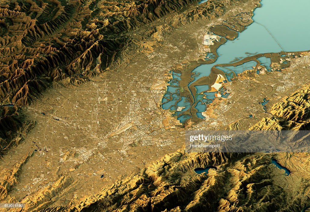 Silicon Valley 3D Landscape View East-West Natural Color : Stock Photo