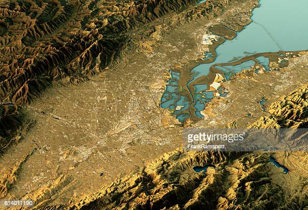 silicon valley 3d landscape view east-west natural color - frank ramspott stock pictures, royalty-free photos & images