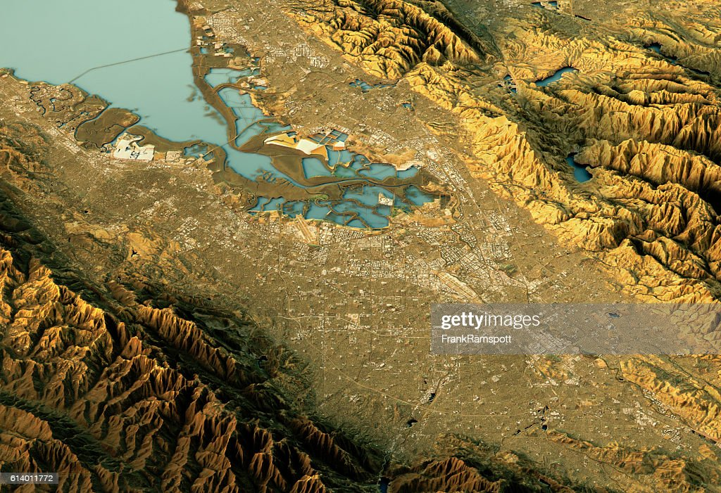 Silicon Valley 3D Landscape View South-North Natural Color : Stock Photo