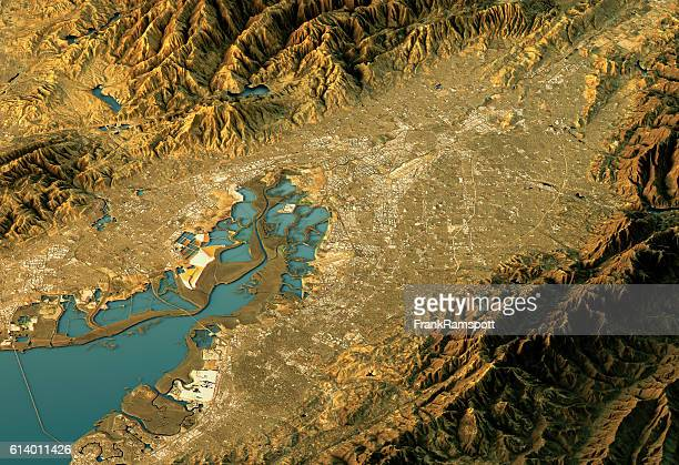 silicon valley 3d landscape view west-east natural color - frank ramspott stock pictures, royalty-free photos & images