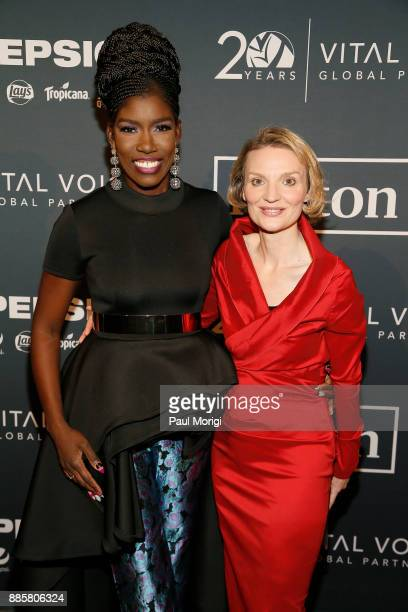 Silicon Valley executive Bozoma Saint John and Presenter President and CEO Vital Voices Global Partnership Alyse Nelson attend Vital Voices Global...