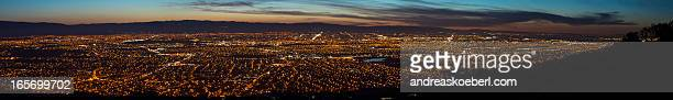 silicon valley panorama at night with lights - san jose california stock photos and pictures